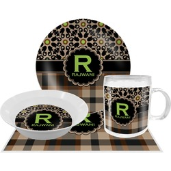 Moroccan Mosaic & Plaid Dinner Set - 4 Pc (Personalized)