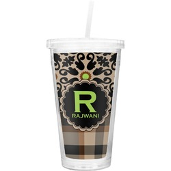 Moroccan Mosaic & Plaid Double Wall Tumbler with Straw (Personalized)