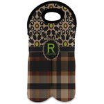 Moroccan Mosaic & Plaid Wine Tote Bag (2 Bottles) (Personalized)