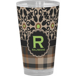 Moroccan Mosaic & Plaid Drinking / Pint Glass (Personalized)