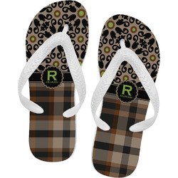 Moroccan Mosaic & Plaid Flip Flops (Personalized)