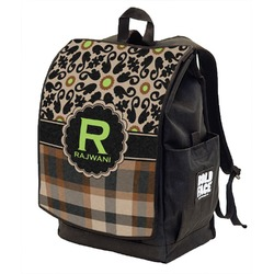Moroccan Mosaic & Plaid Backpack w/ Front Flap  (Personalized)