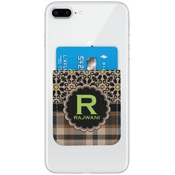 Moroccan Mosaic & Plaid Genuine Leather Adhesive Phone Wallet (Personalized)