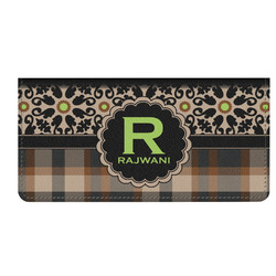 Moroccan Mosaic & Plaid Genuine Leather Checkbook Cover (Personalized)