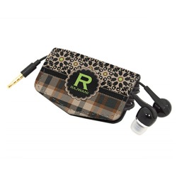 Moroccan Mosaic & Plaid Genuine Leather Cord Wrap (Personalized)