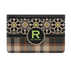 Moroccan Mosaic & Plaid Genuine Leather ID & Card Wallet - Slim Style (Personalized)
