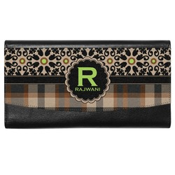 Moroccan Mosaic & Plaid Genuine Leather Ladies Wallet (Personalized)