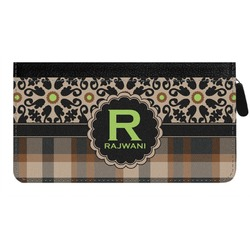Moroccan Mosaic & Plaid Genuine Leather Ladies Zippered Wallet (Personalized)