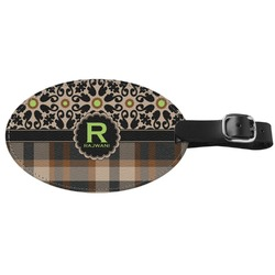 Moroccan Mosaic & Plaid Genuine Leather Luggage Tag (Personalized)