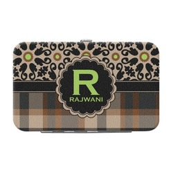 Moroccan Mosaic & Plaid Genuine Leather Small Framed Wallet (Personalized)