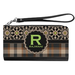 Moroccan Mosaic & Plaid Genuine Leather Smartphone Wrist Wallet (Personalized)