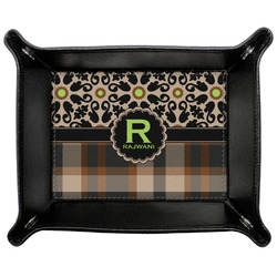 Moroccan Mosaic & Plaid Genuine Leather Valet Tray (Personalized)