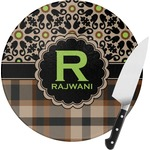 Moroccan Mosaic & Plaid Round Glass Cutting Board (Personalized)