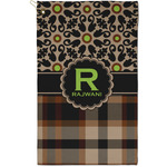 Moroccan Mosaic & Plaid Golf Towel - Full Print - Small w/ Name and Initial