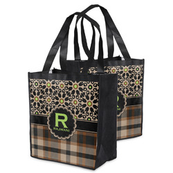 Moroccan Mosaic & Plaid Grocery Bag (Personalized)