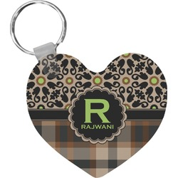 Moroccan Mosaic & Plaid Heart Keychain (Personalized)