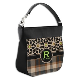 Moroccan Mosaic & Plaid Hobo Purse w/ Genuine Leather Trim (Personalized)