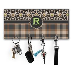 Moroccan Mosaic & Plaid Key Hanger w/ 4 Hooks (Personalized)