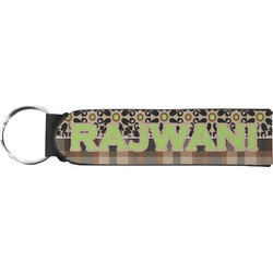 Moroccan Mosaic & Plaid Neoprene Keychain Fob (Personalized)