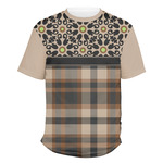 Moroccan Mosaic & Plaid Men's Crew T-Shirt (Personalized)
