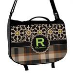 Moroccan Mosaic & Plaid Messenger Bag (Personalized)