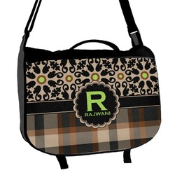 Moroccan Mosaic & Plaid Messenger Bag (Personalized)