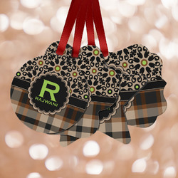 Moroccan Mosaic & Plaid Metal Ornaments - Double Sided w/ Name and Initial