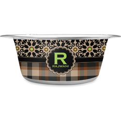 Moroccan Mosaic & Plaid Stainless Steel Pet Bowl (Personalized)