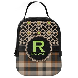 Moroccan Mosaic & Plaid Neoprene Lunch Tote (Personalized)