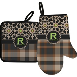 Moroccan Mosaic & Plaid Oven Mitt & Pot Holder (Personalized)