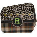 Moroccan Mosaic & Plaid Dining Table Mat - Octagon w/ Name and Initial