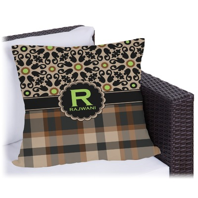 Moroccan Mosaic & Plaid Outdoor Pillow (Personalized)