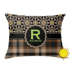 Moroccan Mosaic & Plaid Outdoor Throw Pillow (Rectangular) (Personalized)