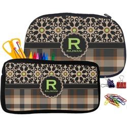 Moroccan Mosaic & Plaid Pencil / School Supplies Bag (Personalized)