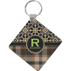 Moroccan Mosaic & Plaid Diamond Key Chain (Personalized)