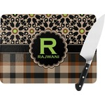 Moroccan Mosaic & Plaid Rectangular Glass Cutting Board (Personalized)