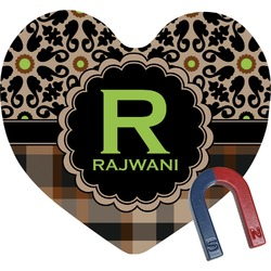 Moroccan Mosaic & Plaid Heart Fridge Magnet (Personalized)