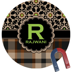 Moroccan Mosaic & Plaid Round Magnet (Personalized)