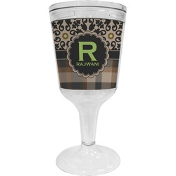 Moroccan Mosaic & Plaid Wine Tumbler - 11 oz Plastic (Personalized)
