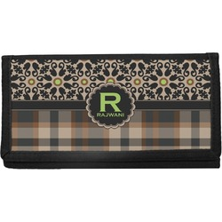 Moroccan Mosaic & Plaid Canvas Checkbook Cover (Personalized)