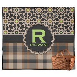 Moroccan Mosaic & Plaid Outdoor Picnic Blanket (Personalized)