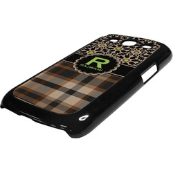 Moroccan Mosaic & Plaid Plastic Samsung Galaxy 3 Phone Case (Personalized)