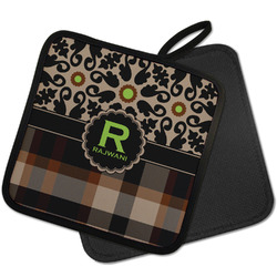 Moroccan Mosaic & Plaid Pot Holder w/ Name and Initial