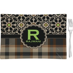 Moroccan Mosaic & Plaid Glass Rectangular Appetizer / Dessert Plate - Single or Set (Personalized)