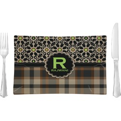 Moroccan Mosaic & Plaid Rectangular Glass Lunch / Dinner Plate - Single or Set (Personalized)