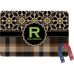 Moroccan Mosaic & Plaid Rectangular Fridge Magnet (Personalized)