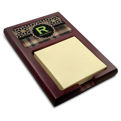 Moroccan Mosaic & Plaid Red Mahogany Sticky Note Holder (Personalized)