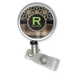 Moroccan Mosaic & Plaid Retractable Badge Reel (Personalized)