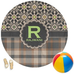 Moroccan Mosaic & Plaid Round Beach Towel (Personalized)