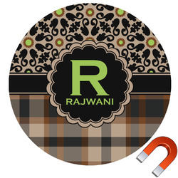Moroccan Mosaic & Plaid Round Car Magnet (Personalized)